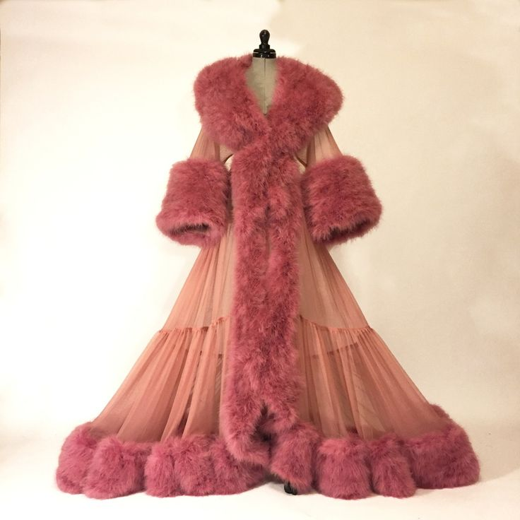 """Dominique"" Ultra-Plush Marabou Sheer Dressing Gown -- Boudoir by D'Lish"