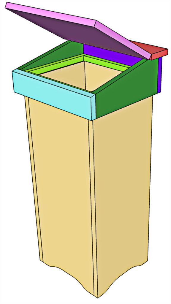 Wooden Trash Can Bin Plans Woodworking Projects Amp Plans