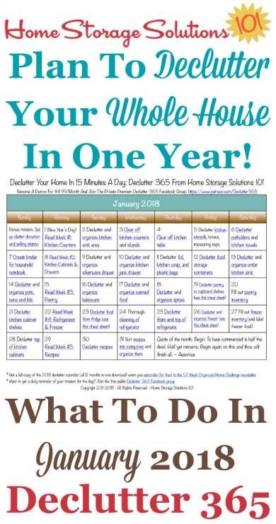 free printable january 2018 decluttering calendar with daily 15 minute missions follow the entire declutter