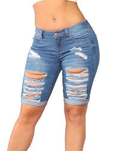 Short en Jean Femme Taille Haute Vintage Push Up Stretch Skinny Pantacourt  Jean Déchiré Bermuda Bleu 55d10b2e065