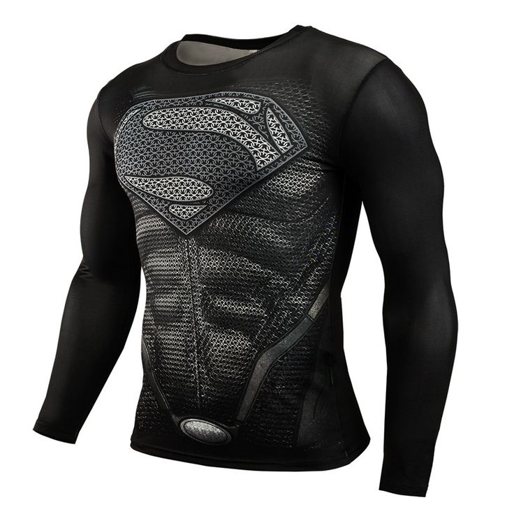 Mens 3D Compression Shirt Marvel Superman Captain America Long Sleeve Crossfit T Shirt T-Shirts Tights Brand Fitness Clothing