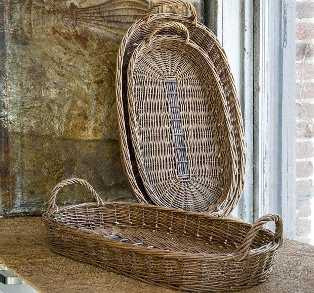 Large Oblong Willow Trays   Wicker Trays