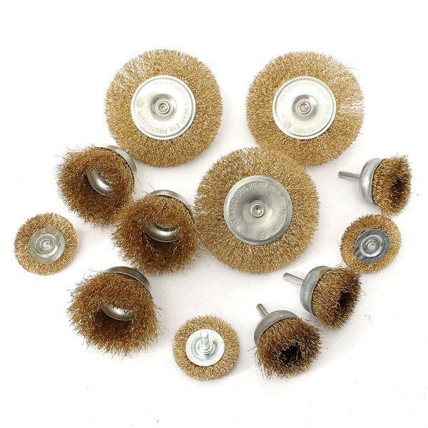 12pcs de alambres rueda de cepillos y pinceles de fijación de perforación de acero onduladas en plano conjunto de lijado