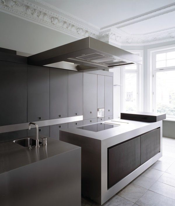 """""""White room."""" Interior kitchen. Modernism and crown molding."""