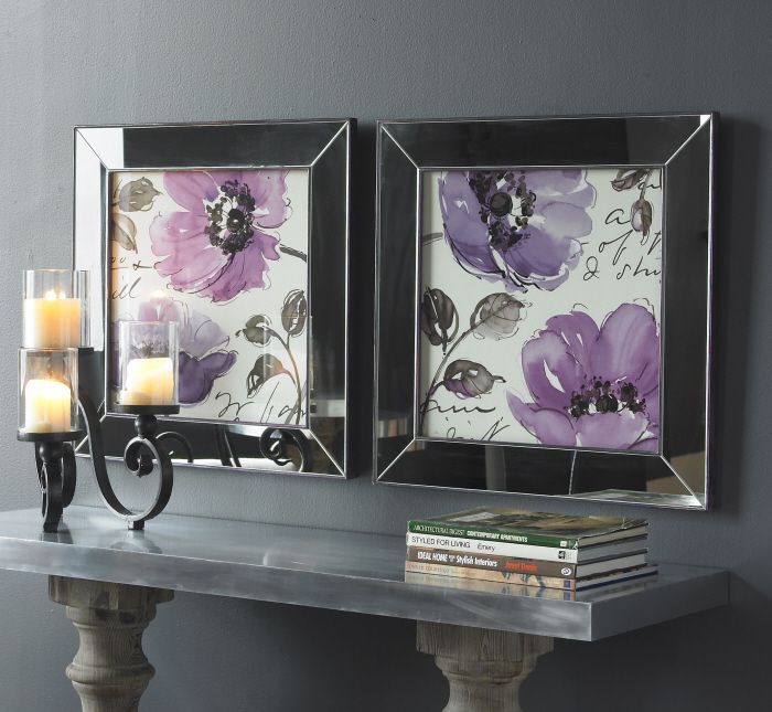 Love mirrored framed art these prints accented by mirrored frames are stunning inner and flower wall decorframed wall
