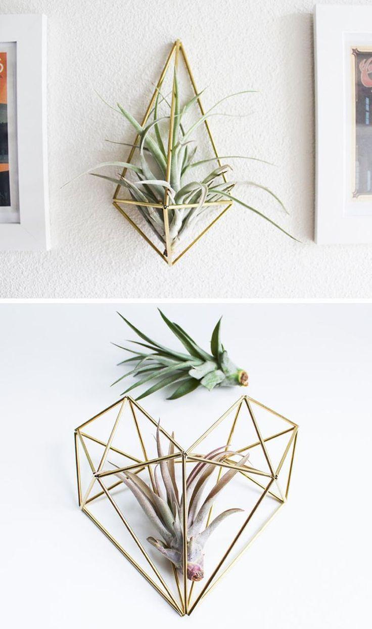 petit pot de fleur de design géométrique moderne fabriqué en laiton pour exhiber les plantes aériennes avec style