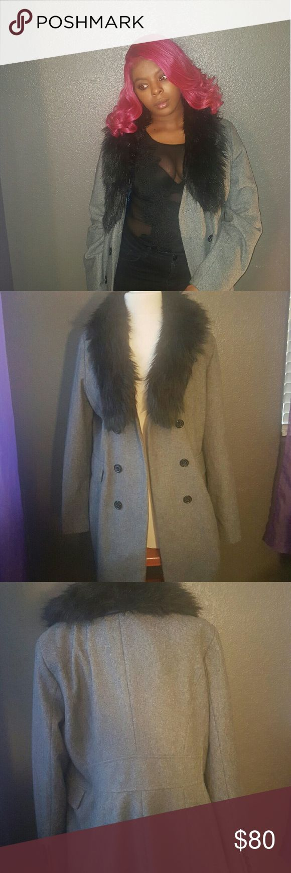 Grey Trench Coat with Fur collar This jacket is in good condition there's no damages. Im more than willing to accept reasonable offers and if you bundle 3 items or more you will recieve 10%! Mossimo Supply Co. Jackets & Coats Trench Coats