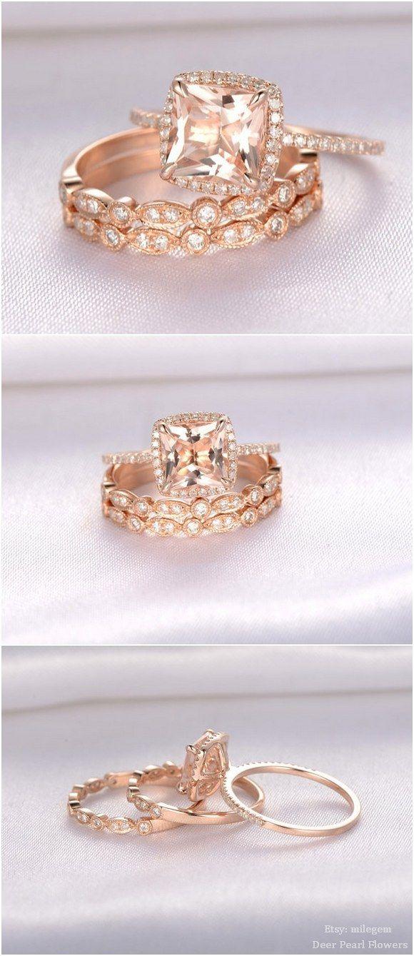 8mm Princess Cut Pink Morganite Engagement ring / http://www.deerpearlflowers.com/rose-gold-engagement-rings-from-milegem/2/