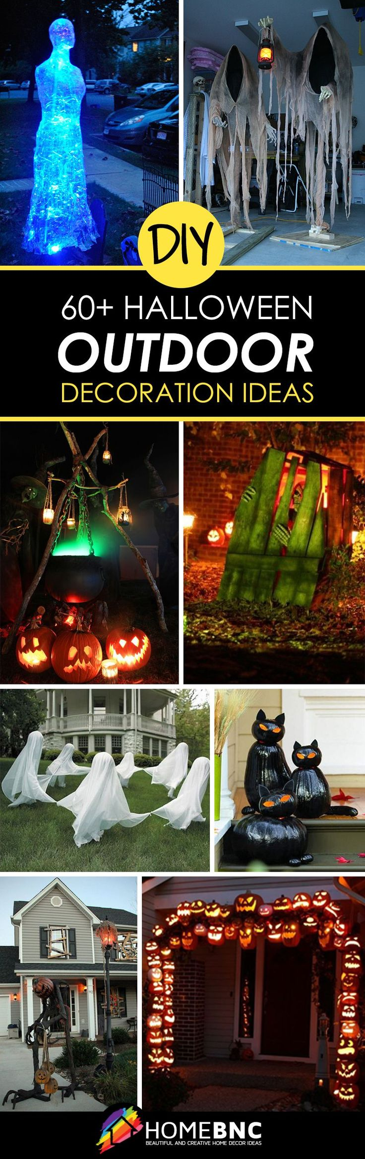 64 best diy halloween outdoor decorations for 2017 - Halloween Decorated House