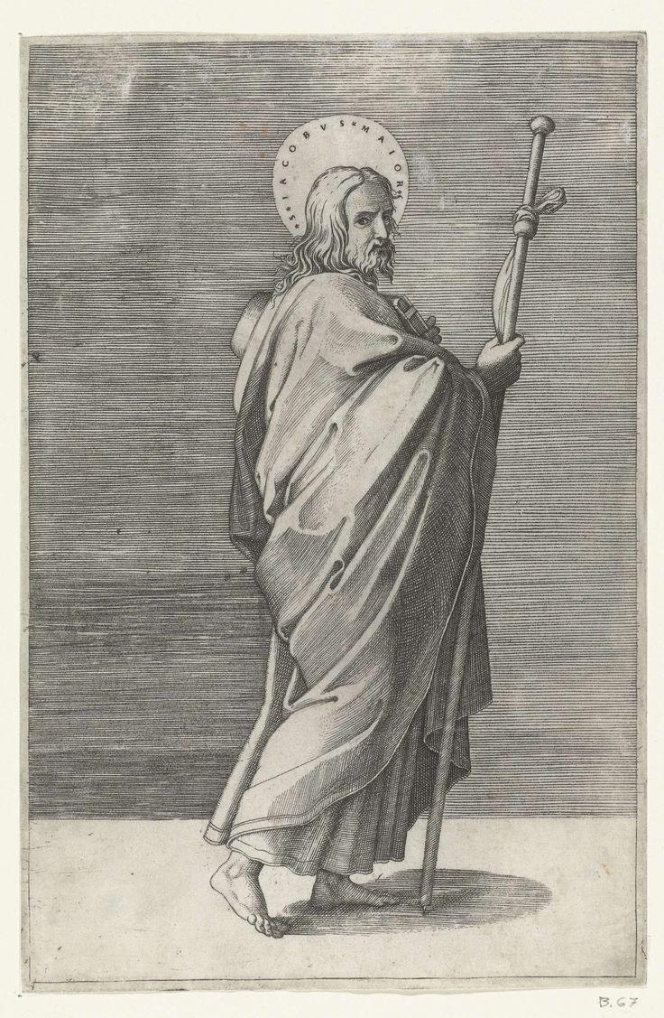 Marcantonio Raimondi   Apostel Jakobus de Meerdere (Major) met pelgrimshoed en pelgrimsstaf, Marcantonio Raimondi, Rafaël, 1517 - 1527  