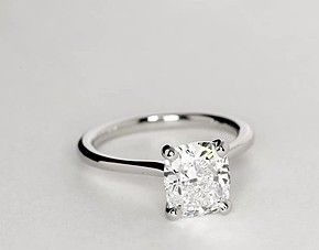 Petite Nouveau Four Prong Solitaire Engagement Ring in Platinum. Everything I want in a ring.
