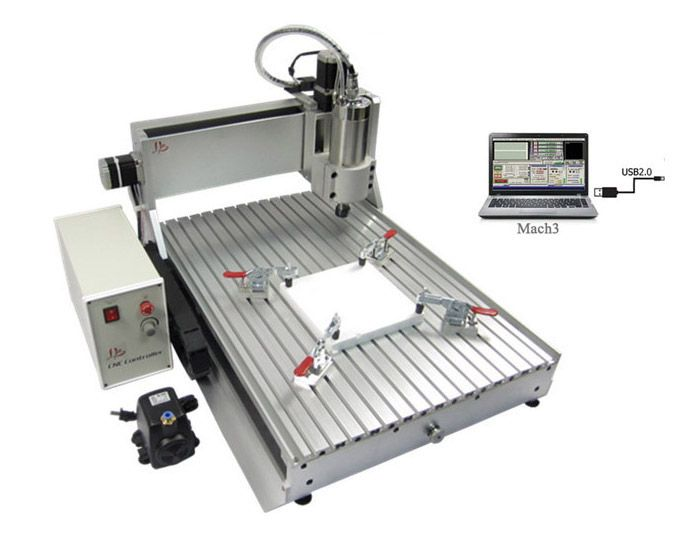 cnc lathe machine 6040Z-VFD1.5KW USB 3axis USB Port cnc router Free tax to Europe