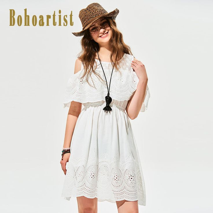 Click Image to Buy.  Bohoartist Shift Dress Pattern Cold Shoulder Insert Contrast Print Streetwear Women A-Line Party 2017 Summer Chic White Sundress ** Find similar lovely pieces on  AliExpress.com. Just click the VISIT button. #christmasdecordiy