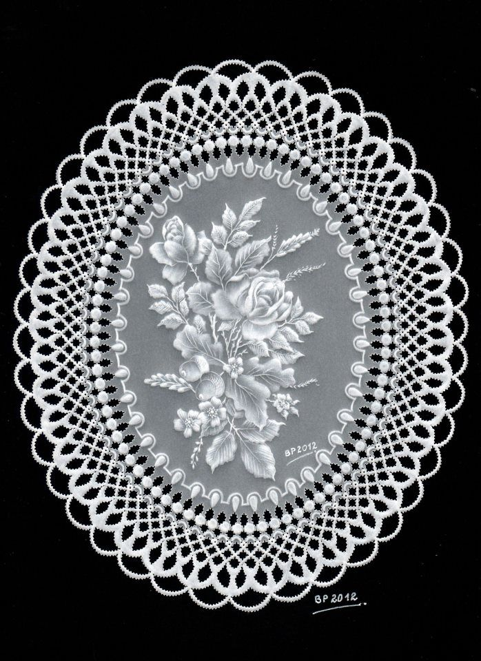 """White Lacework -  My participation in the """"Parchment Craft Magazine"""" issue february2013"""