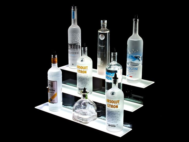 Armana Acrylic 39 inch LED Lighted Liquor Bottle Shelf 3 3 Display