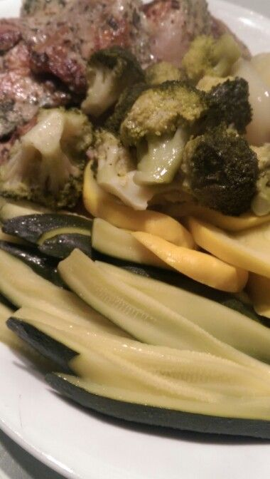 Closeup zucchini and squash sous vide with 4x lime extract.