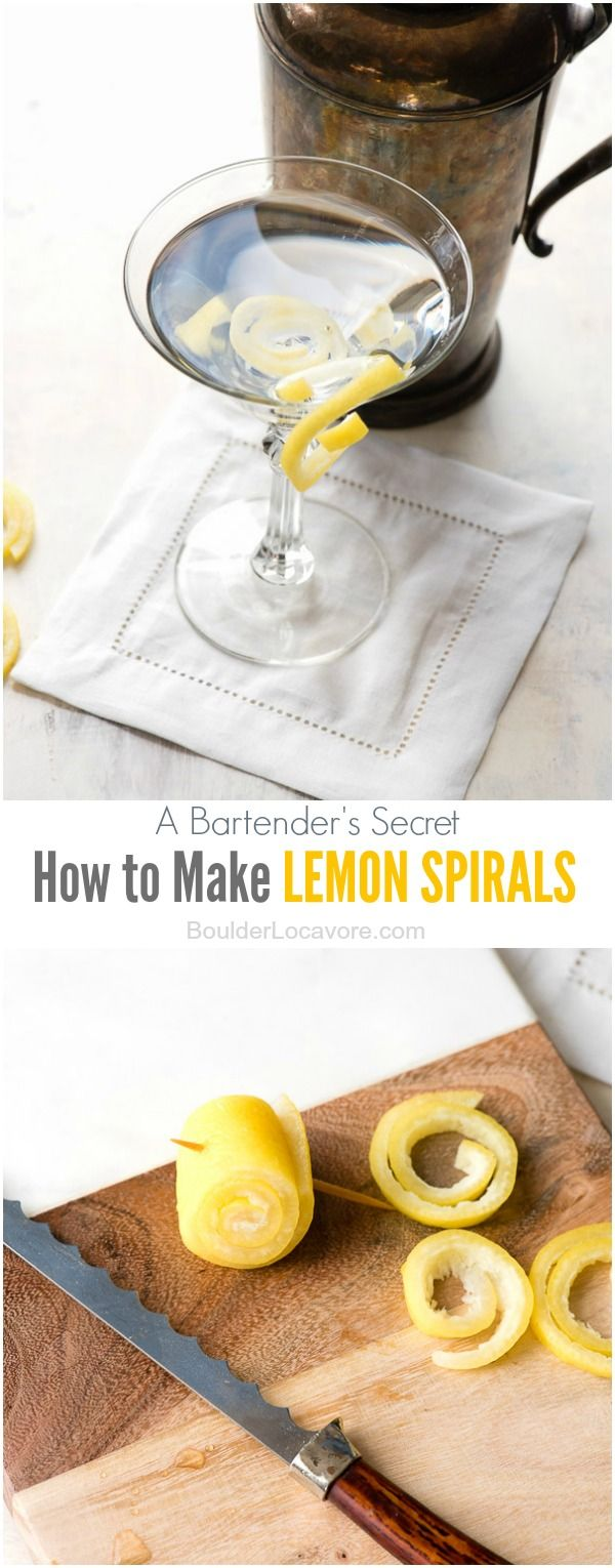 How to Make Lemon Spirals (drink or cocktail garnish) BoulderLocavore.com