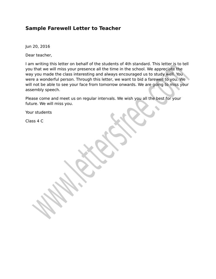 Sample Farewell Letter to Teacher to pay thanks for sharing a - montessori teacher resume