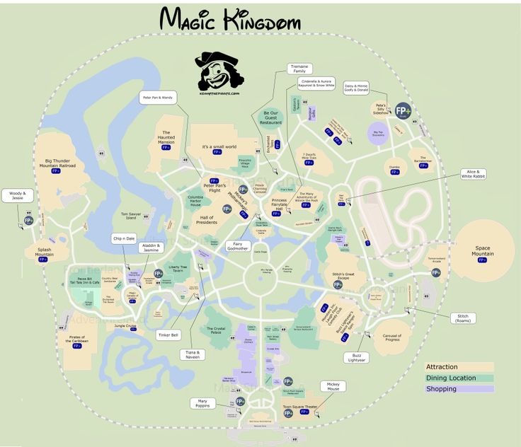 Great map of Magic Kingdom with Fastpass plus locations, rides, shows, characters, dining and shopping locations -  from KennythePirate