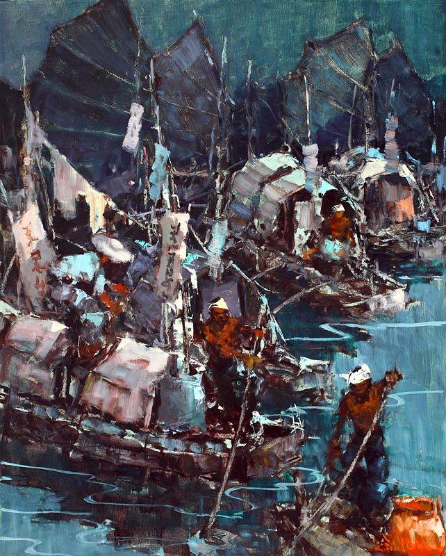 Lucien Frits Ohl (Palembang 1904 – Den Haag 1976) - Indonesian Junks in Blue