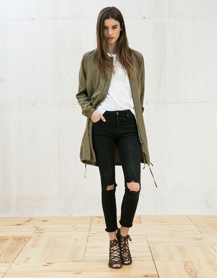 Long bomber jacket. Discover this and many more items in Bershka with new products every week