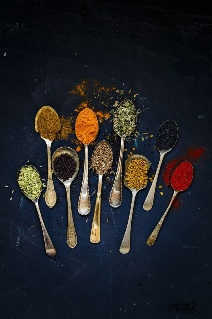 Spices on Spoon for Achari Gobi { Califlower Curry in Pickling Spices}
