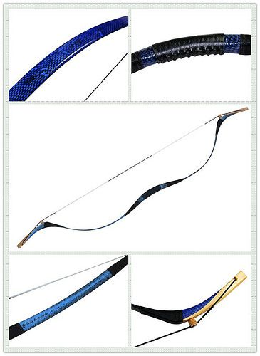 Blue snakeskin 45/50 lb traditional recurve bows for archery hunting shooting