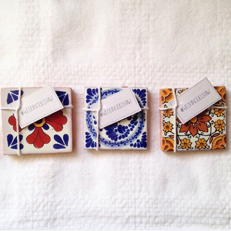 50 mexican spanish tile wedding favors 2x2