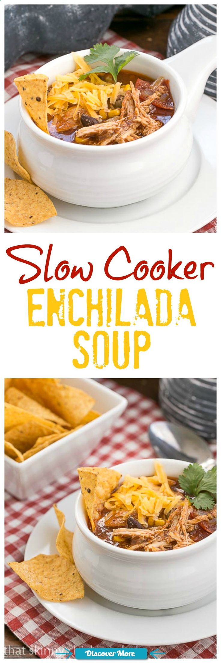 Slow Cooker Chicken Enchilada SoupSlow Cooker Chicken Enchilada Soup | A spicy, comforting Tex-Mex soup That Skinny Chick Can Bake!!! #slowcooker #slowcook #slowcookerrecipes #slowcookerchicken