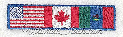 United States Canada Mexico North America NATO Flags American Machine Embroidery Design