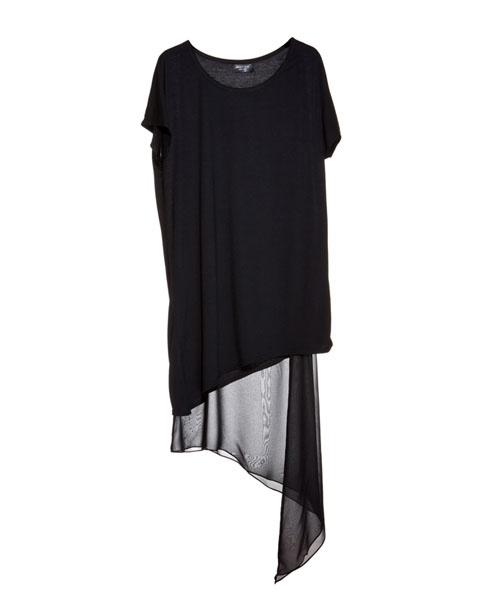 Black Asymmetrical Chiffon Dress
