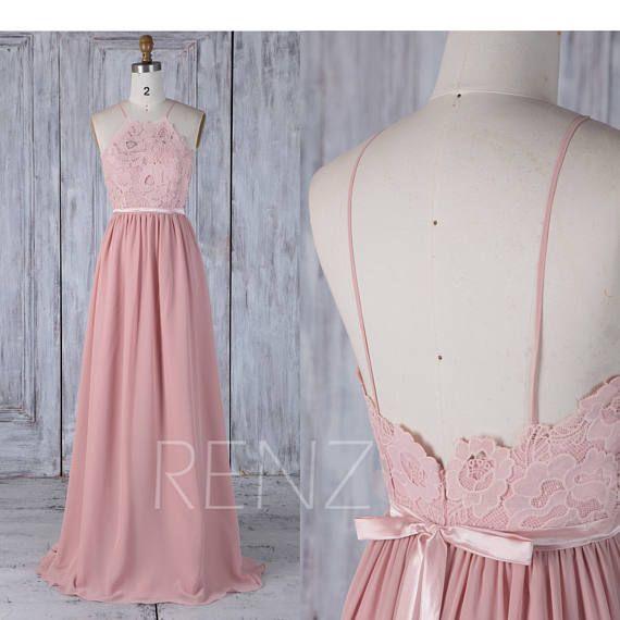 Bridesmaid Dress Blush Chiffon Dress Spaghetti Strap Prom Dress Lace Illusion Maxi Dress A Line Evening Dress with Sash-L292)