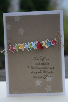 "Note the heart in amongst the stars - the sentiment translated says ""From the Heart Magnificent Christmas and all good wishes for the new year"" - Danielas Stempelwelt unabhängiger Stampin' Up! Demonstrator"