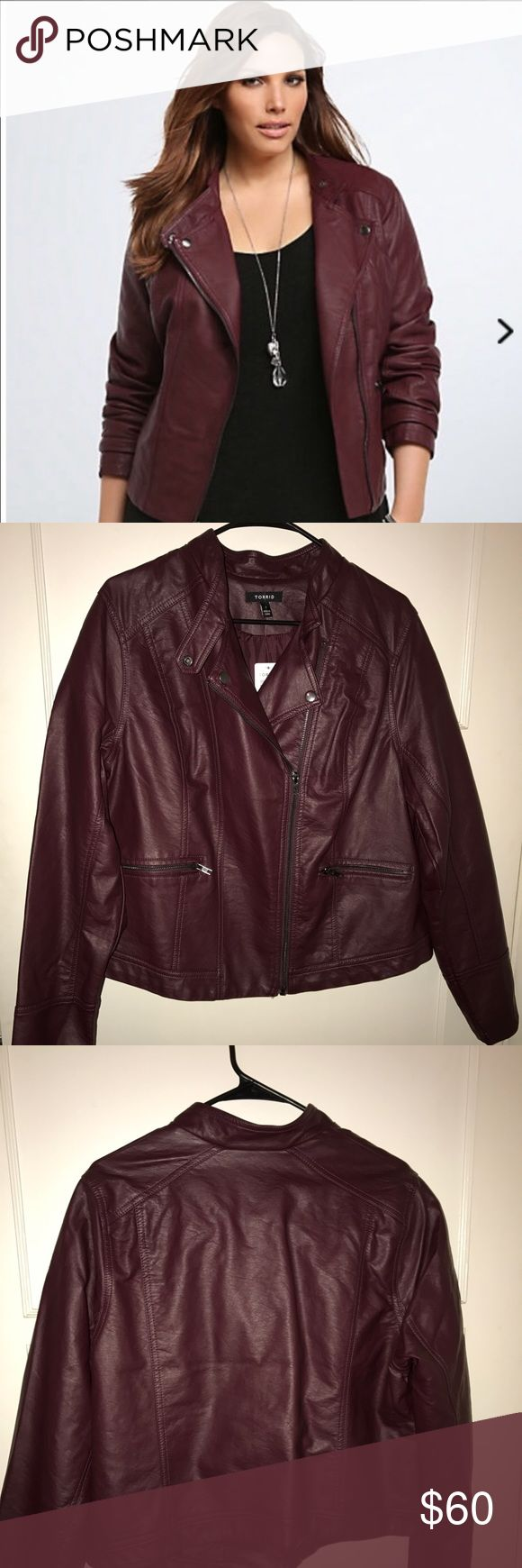 Torrid merlot Moto jacket Brand new, beautiful color, super cute jacket torrid Jackets & Coats