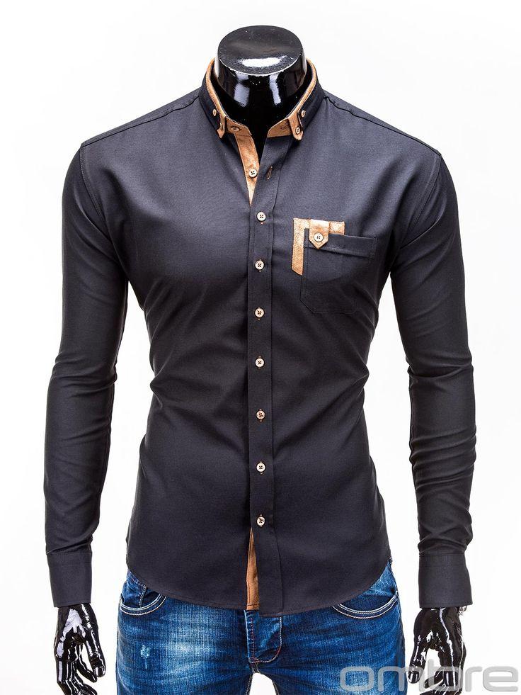 Koszula K97 - CZARNA CZARNY   Dla niego \ Koszule \ Eleganckie Dla niego \ Koszule \ Wszystkie     OMBRE