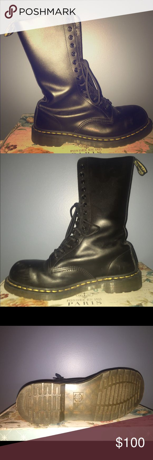 Dr. Martens size 10 14-Eye Steel Cap Boot Black Size 10 in men's, 11 in women's. Worn only a few times, little bit of scuffs on the toe. Dr. Martens Shoes Boots