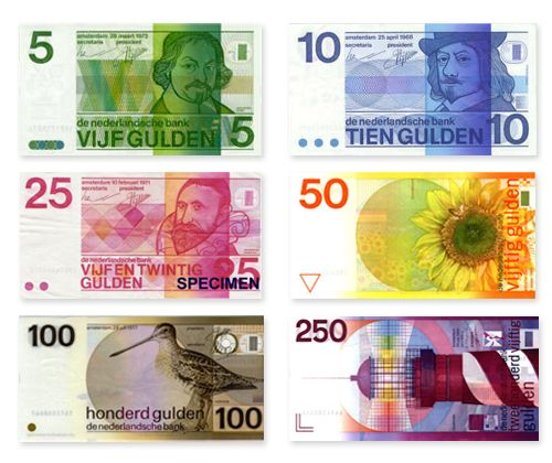 A selection of the old dutch bank notes designed by R.D.E Oxenaar, probably the nicest and most unique notes to date. Its a shame the Euros look as they do, especially when they replace great design like this.