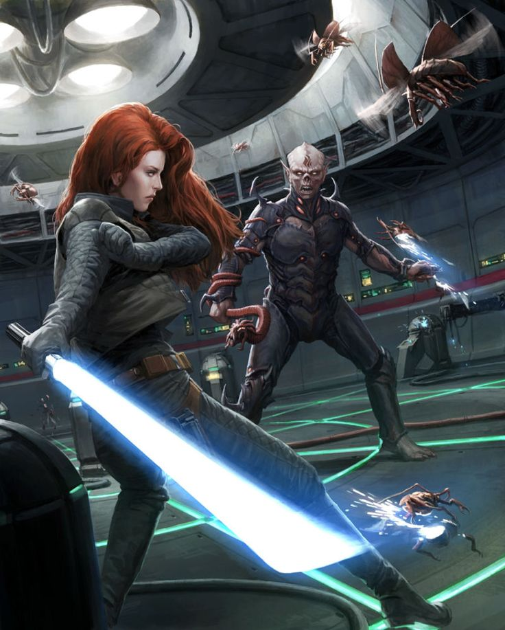 Jedi Knight Mara Jade Skywalker fights the Yuuzhan Vong