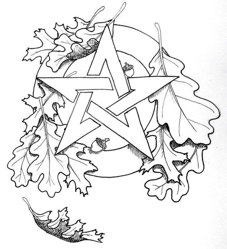 pentacle oak leaf coloring page