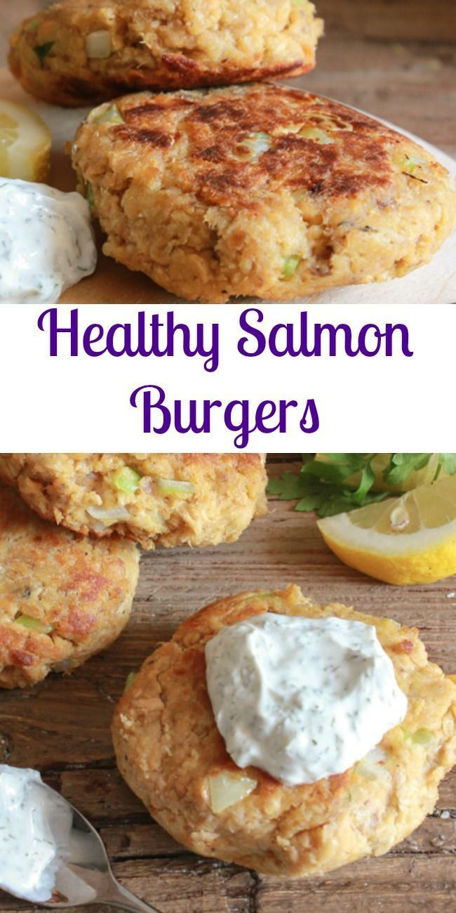 Healthy Salmon Burgers the perfect quick and easy lunch or dinner meal. Made with canned salmon and served with a delicious Greek Yogurt dill sauce/anitalianinmykitchen.com