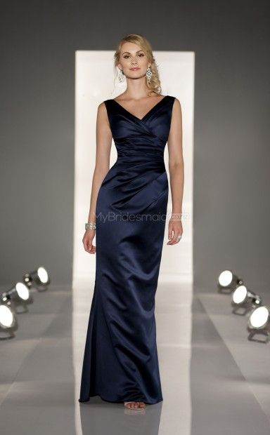Dark Navy Satin Sheath V-neck Floor-length Bridesmaid Dresses(NZBD06826)