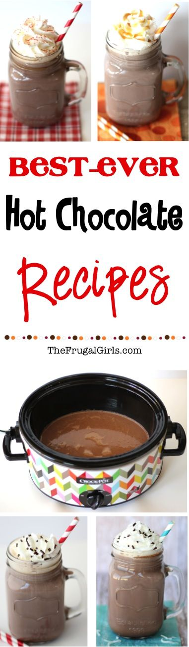 Best Ever Hot Chocolate Recipes! These easy Crockpot Cocoa recipes are decadent and DELICIOUS... perfect for holidays, parties, and chilly days!  Serve straight from your Slow Cooker! | TheFrugalGirls.com