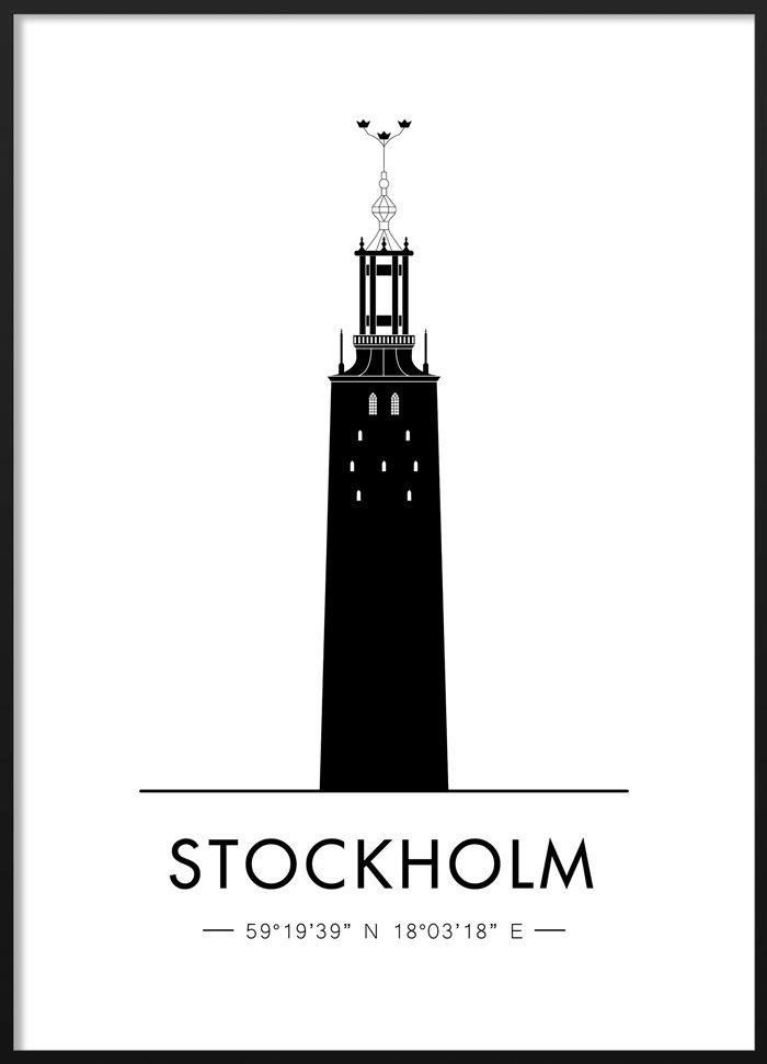 Black and white poster of the Stockholm city hall #blackandwhite #modern #scandinavian #interior #stockholm #globe #illustration #poster