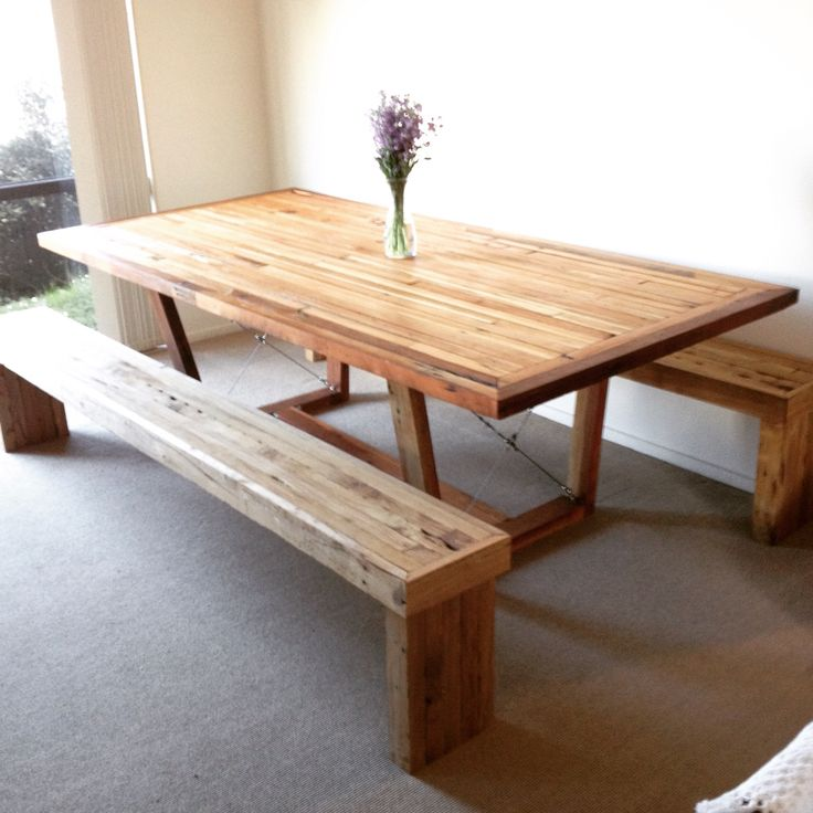 Rimu dining table with Rimu bench seats. Seats just need a sand and oil