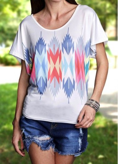 Aztec Pattern Batwing Sleeve Loose T Shirt