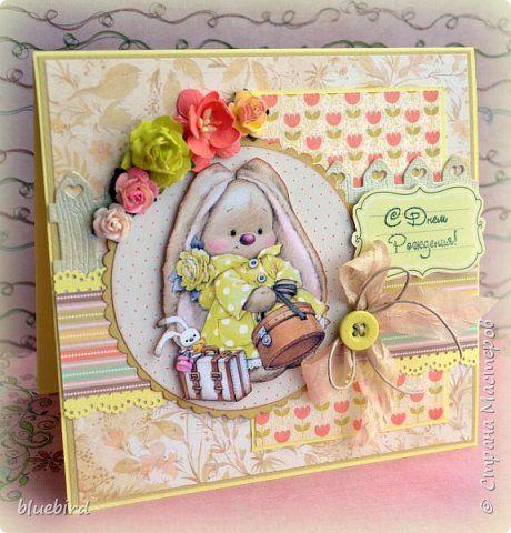 Открытка Скрапбукинг День рождения Аппликация Детская открытка Зайка Ми - 2 Бумага фото 1