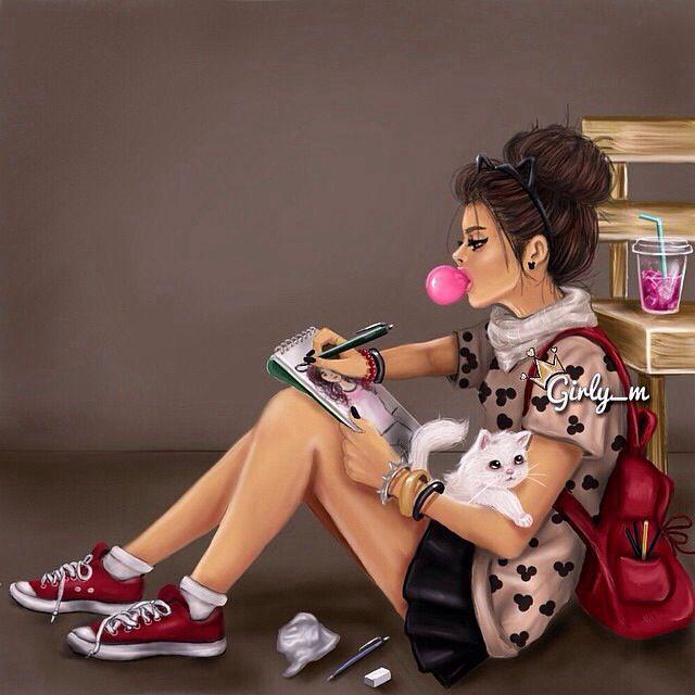 #girly_m #drawing #art #girl #brunette #schoolgirl
