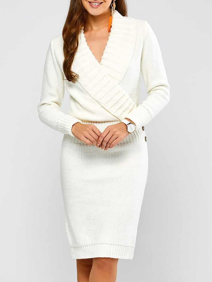 Casual Long Sleeve Shawl Collar Sweater Dress in White | Sammydress.com