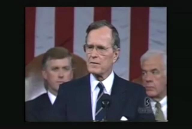 George Bush Proclaims The Coming New World Order by Now The End Begins. George Bush 41 stood up in front of the US Congress and proudly proclaimed the coming New World Order. See and hear it for yourself in full context.