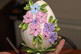 Dekorácie - Veľkonočné vajíčko s jarnými kvietkami - 5071506_
